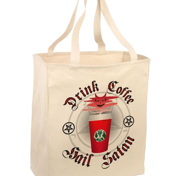 Red Cup Drink Coffee Hail Satan Large Grocery Tote Bag by TooLoud