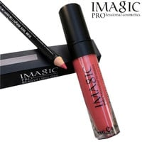 New fashion 2 pcs/set lip kit Lip Gloss Matte Liquid Lipstick with lip pen Makeup Soft  Lipgloss Kit cosmetic by IMAGIC