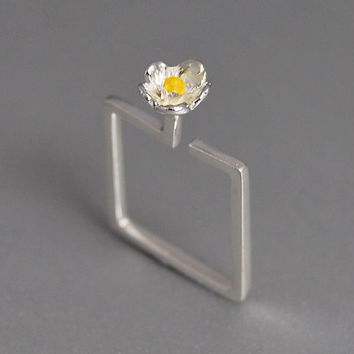 Geometric Flower Ring Square Statement Band Spring Blossom Yellow Enamel Delicate Feminine Jewelry Gift for Her Under 50 Romantic Bouquet