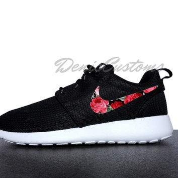Nike Roshe Run One Black with Custom Red Pink Rose Floral Print f51969314