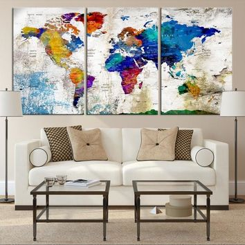78188 - World Map Wall Art, World Map Canvas, World Map Print, World Map Poster, World Map Art, World Map Push Pin, Large Wall Art World Map Canvas