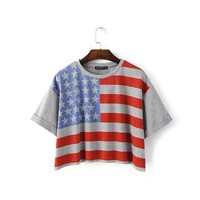 Fashion Style Women T Shirts Short Sleeve American Flag Printed Summer Loose T-Shirts Female 2017 Tee Casual Lady Casual Clothes
