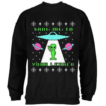 DCCKU3R Alien Take Me to Your Leader Ugly Christmas Sweater Mens Sweatshirt