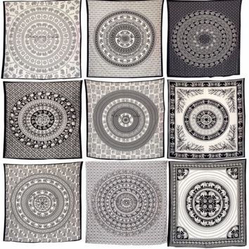 Indian Bedding Cotton Bed Sheet Mandala Wall Tapestry Black n White Hippie Decor
