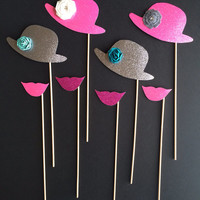 Set of 8 Photo Booth Props / Wedding Photo Props / Props on Sticks / Mustaches on Sticks / Lips on Sticks