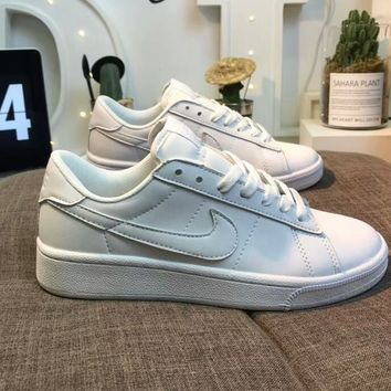 NIKE Tennis Classic Popular Women Men Leather Flat Sport Running Shoe Sneakers Full White I-AA-SDDSL-KHZHXMKH