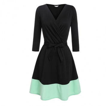 Women Crossover V-Neck 3/4 Sleeve Patchwork Fit And Flare Belted Dress