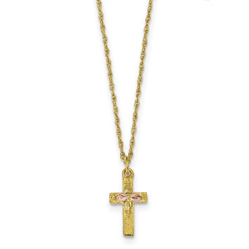 10k Tri-Color Black Hills Gold Cross Necklace 10BH694
