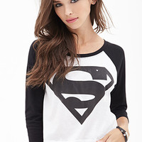 FOREVER 21 Cropped Superman Baseball Tee White/Black