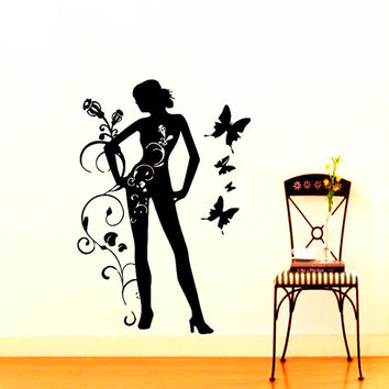 Wall Vinyl Decal Sticker Girl With Butterflies Beauty Salon Room Picture Elegancy Hall Wall Chu1168