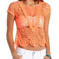 Embroidered Mesh & Crochet Tee by Charlotte Russe
