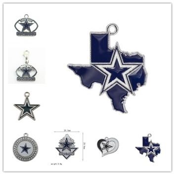 Mix 7 Styles Enamel Football Team Dallas Cowboys Dangle Charms Pendant For DIY Bracelet&Necklace Earrings Jewelry 20pcs/lot