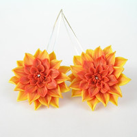 Dahlia flower earrings - handmade polymer clay earrings - orange and yellow dahlia - floral jewelry - polymer clay jewelry