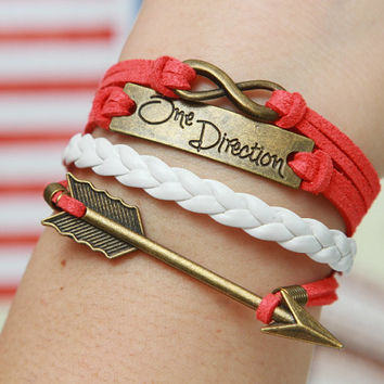 Arrow Bracelet Bronze Bracelet 8 One Direction Bracelet White Lather Friendship Figure Infinity Charm Jewelry - Christmas