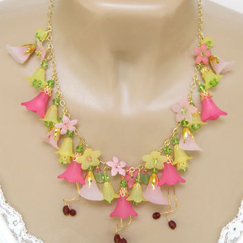 Pink Statement Lucite Flower Necklace Handcrafted Crystal Gold Short