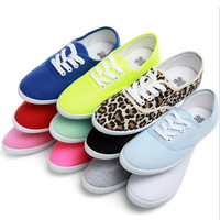 lady Candy color flat shoes with non-slip tendon at the end casual shoes sneakers/ women shoes canvas shoes  Large size 35 - 42