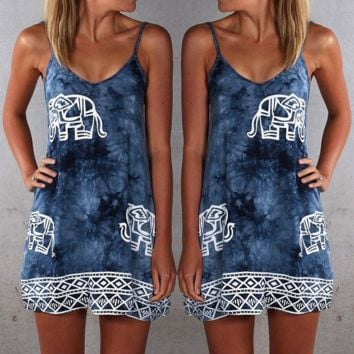 The elephant print condole belt dress