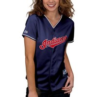 Majestic Cleveland Indians Women's Replica Jersey - Navy Blue