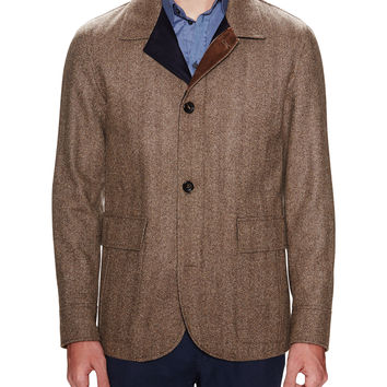 Luciano Barbera Men's Herringbone Collared Car Coat - Brown -