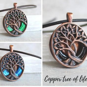 Copper Celtic tree of life necklace
