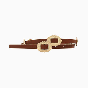 Concho Skinny Belt - Brown + Gold