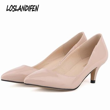 Loslandifen New brand women pumps low heels shoes woman ladies party wedding dress pointed toe slip on shoes size 35-42 6cm high