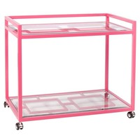 Worlds Away Pink Hampton Bar Cart+delivery