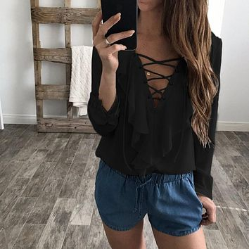 Fashion Spring Autumn Women Chiffon Blouse Lace Up V Ruffles Long Sleeve Black White Tops Casual Plus Size Shirt