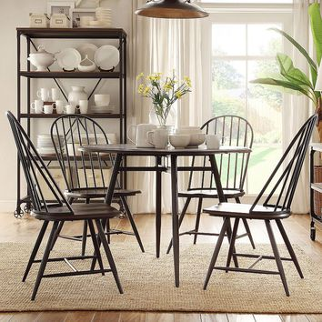 HomeVance Grayson 5-piece Dining Table & Chair Set (Black)