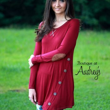 BLACK FRIDAY SPECIAL Burgundy Asymmetrical Tunic with Buttons and Elbow Patches