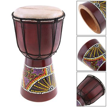 6 Inch Colorful Wood Professional African Djembe Drum