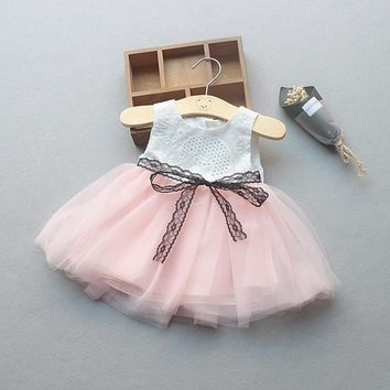 Summer Baby Girls Dress Lace Bow Sleeveless Mesh Ball Gown Princess Party Birthday Sundress Kids Clothes vestido infantil