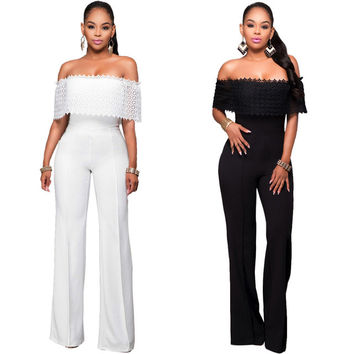 Sexy Women Bodysuit slash neck off shoulder Stretch Playsuit Leotard Jumpsuit Overalls Romper Casual Enteritos Mujer Club Wear
