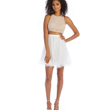 Glamour by Terani Couture Two-Piece Beaded Top Party Dress | Dillards