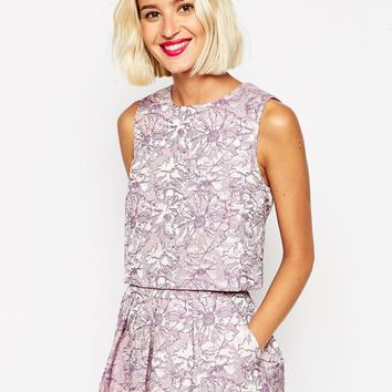 ASOS Lilac Floral Jacquard Shell Top Co-Ord