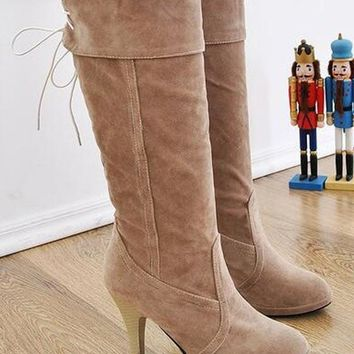 New Women Beige Round Toe Stiletto Bow Fashion Knee-High Boots
