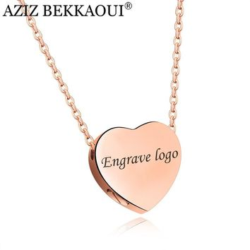 AZIZ BEKKAOUI Clavicle Women Necklace Engrave Name Logo Stainless Steel Heart Pendant Necklaces For Women Install Small Things