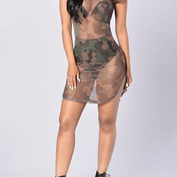 Camouflage Print Round Neck See-Through Club Mini Dress