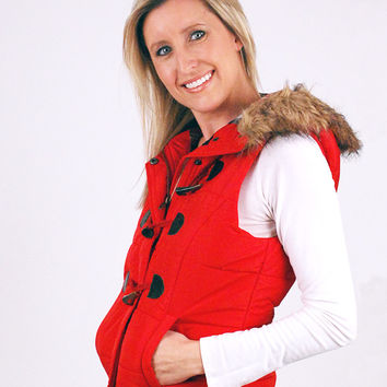 RED HOODED PUFFER VEST WITH FAUX FUR