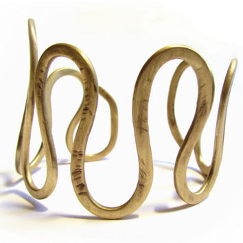 Bronze Hammered Swirl Cuff Bracelet, Metalwork Greek Jewelry