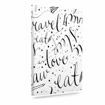 "MaJoBV ""Life Must-dos / Black"" White Canvas Art"