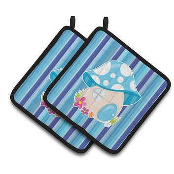 Fairy House Blue Stripes Pair of Pot Holders BB6911PTHD