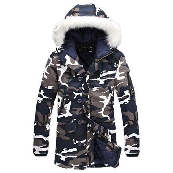 2017 Winter Plus Size Mens Camouflage Down Jacket Faux Fur Hooded Light Duck Down Coat 4XL 5XL Long Oversized Warm Fleece Jacket
