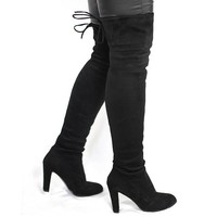 Women Faux Suede Thigh High Boots Fashion Over The Knee Boot Stretch Flock Sexy Over T