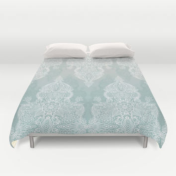 Lace & Shadows - soft sage grey & white Moroccan doodle Duvet Cover by Micklyn