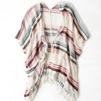 AEO STRIPED FRINGE PONCHO