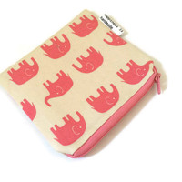 Pink Elephant Zippered Pouch - Zipper Wallet - Coin Purse - Small Cosmetic Bag - Pink Wallet - Elephants - Daiwabo Japan Fabric - Kawaii