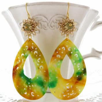 Burma carved jade earrings, jade drop earrings, gemstone jewelry, multicolor dangle teardrop, italian jewellery Sofia's Bijoux