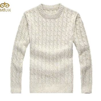 MIUK Cable Needle Fashion Design Men Sweater O Neck Loose Large Size XL XXL Men's Pullover Sweaters Thick Apricot Blue 2017 New