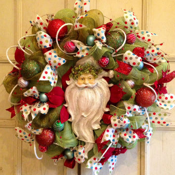 Old Time Santa Claus Wreath, Christmas Santa Wreath, Christmas DecoMesh Santa Wreath, Christmas Wreath, DecoMesh Christmas Wreath, Santa